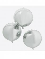 Enorme ronde metallic zilverkleurige ballon