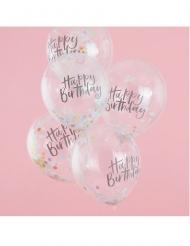 5 doorzichtige latex happy birthday ballonnen met confetti