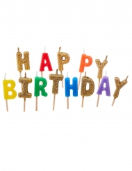 13 veelkleurige happy birthday glitter kaarsjes op prikker