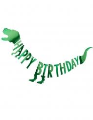 Kartonnen metallic groene dinosaurus verjaardagsslinger