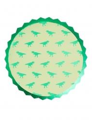 8 groene kartonnen dinosaurus bordjes