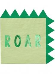 16 metallic groene dinosaurus papieren servetten