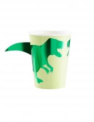 8 kartonnen metallic groene dinosaurus bekers
