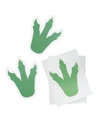 6 groene stickers dinosaurus pootafdrukken