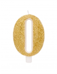 Goudkleurige glitter cijfer verjaardagskaars