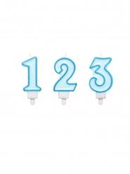 Blauwe cijfer verjaardagskaars
