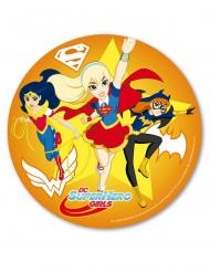 Oranje eetbare Superhero Girls™ schijf