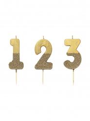 Goudkleurige glitter cijfer kaars