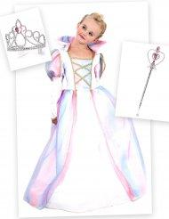Prinses kostuum pack met tiara en toverstaf voor meisjes
