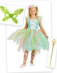 Groene fee kostuum pack met vleugels en toverstaf voor meisjes