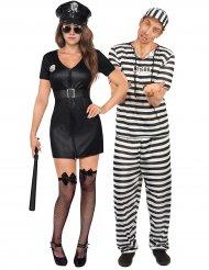 Politie en gevangene koppelkostuum voor volwassenen