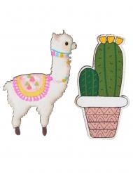 18 houten lama en cactus decoraties