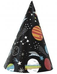 8 zwarte universum kartonnen hoedjes