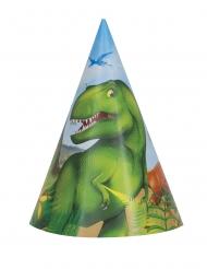 8 kartonnen dinosaurus feesthoedjes