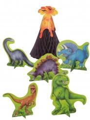 6 papieren dinosaurus tafeldecoraties