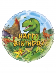 Ronde aluminium happy birthday dino ballon
