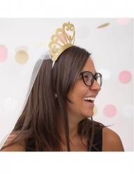 Goudkleurige glitter kartonnen kroon met sluier