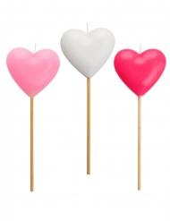 3 roze en witte hart kaarsjes