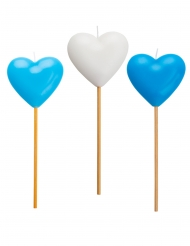 3 blauwe en witte hart kaarsjes