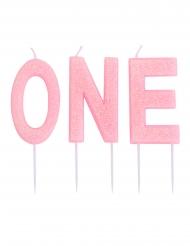 Roze glitter ONE kaarsjes op prikker