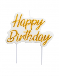 Witte en goudkleurige glitter happy birthday kaars