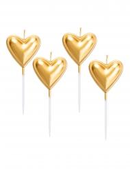 5 metallic goudkleurige hart kaarsjes op prikkers