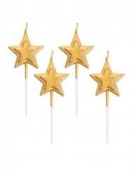 5 metallic goudkleurige ster kaarsjes op prikker