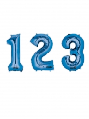 Blauwe aluminium cijfer ballon