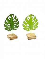 1 groen tropische blaadje van metaal op houten voet