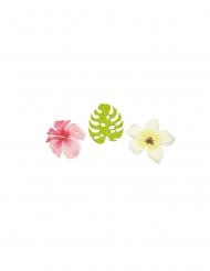 9 houten tropische bloemen en bladeren confetti