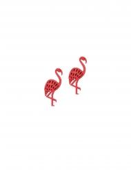 10 houten roze flamingo confetti
