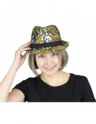 Goudkleurige en zilverkleurige lovertjes hoed voor volwassenen
