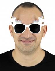 Witte eenhoorn bril voor volwassenen