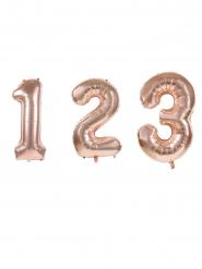 Kleine roségouden aluminium cijfer ballon