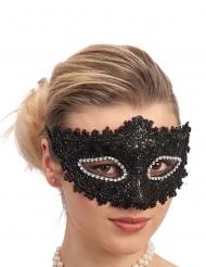 Plastic masker met zwart kant en strass voor volwassenen