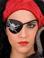 Zwart piraat ooglapje met doodskop voor volwassenen