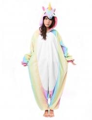 Kigurumi™ regenboog eenhoorn pak voor volwassenen