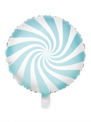 Turquoise en witte aluminium lolly ballon