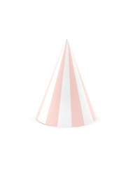 6 roze en witte kartonnen feesthoedjes