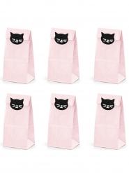 6 papieren roze kat feestzakjes