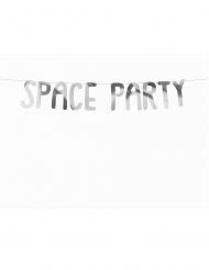 Kartonnen zilverkleurige Space Party slinger