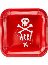 6 rode kartonnen piraten borden