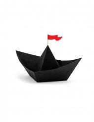 6 zwarte papieren origami piratenboten
