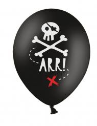 6 latex zwarte piraten ballonnen