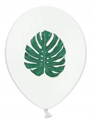 6 witte latex ballonnen met groen tropisch blad