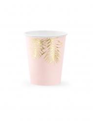 6 kartonnen tropische roze en goudkleurige bekers