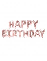 Roségouden aluminium happy birthday letter ballonnen