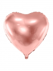 Metallic roségouden aluminium hart ballon