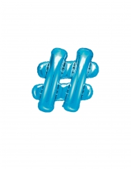 Blauwe aluminium hashtag ballon