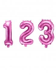 Roze aluminium cijfer ballon